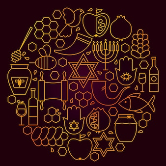 Rosh hashanah line icon concept. vector illustration of jewish new year objects.