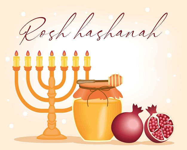 Rosh hashanah poster with chandelier