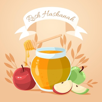 Rosh hashanah with honey and apple