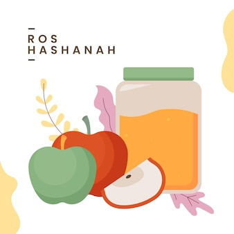 Rosh hashanah with honey and apples