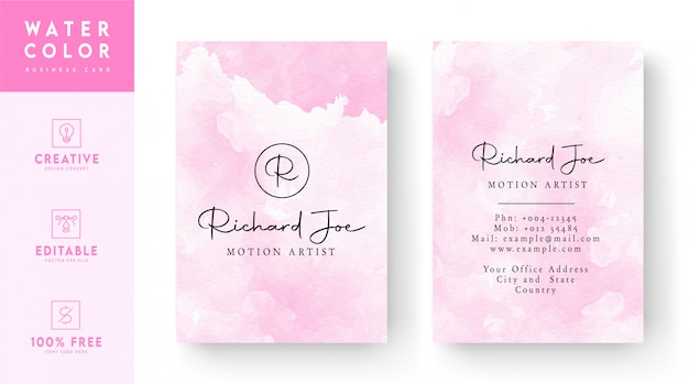 Ross pink watercolor vertical abstract business card concept