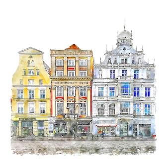 ロストックドイツ水彩スケッチ手描きイラスト