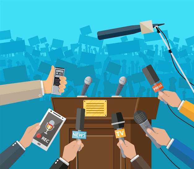 Rostrum, tribune and hands of journalists with microphones and digital voice recorders. press conference concept, news, media, journalism. vector illustration in flat style
