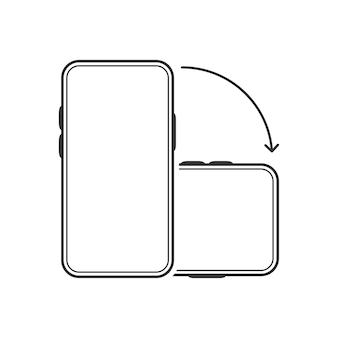 スマートフォンの分離アイコンを回転します。白い背景の上のデバイス回転記号。モバイル画面の水平および垂直回転。ベクトルイラスト。