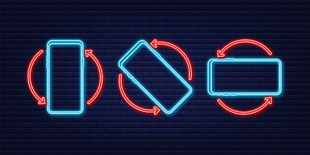 Rotate smartphone isolated icon neon icon device rotation symbol