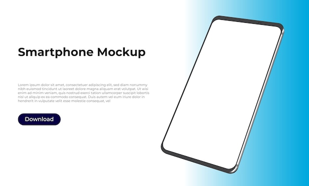 Rotated 3d smartphone mockup for application presentation and user experience design.