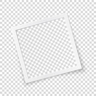Rotated image frame concept, single isolated object on transparent background