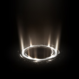 Rotating white rays with sparkles