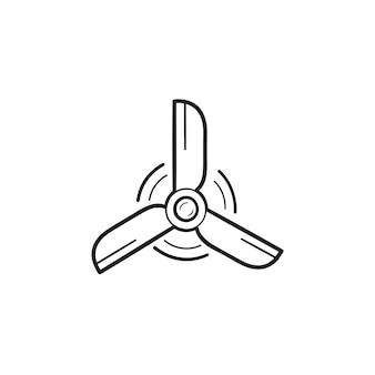 回転風力タービン手描きのアウトライン落書きアイコン。風車とクリーンエネルギー、エコ風力発電のコンセプト。白い背景の上の印刷、ウェブ、モバイル、インフォグラフィックのベクトルスケッチイラスト。
