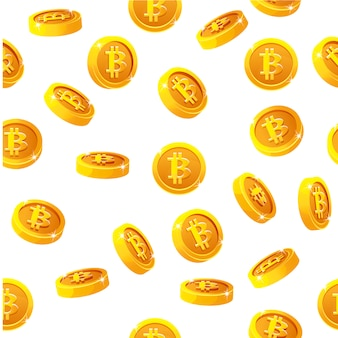 Rotation bitcoin coins seamless pattern. digital internet currency,  background