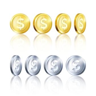 Вращение металлического золотого и серебряного шаблона монеты. значок золотой и серебряный доллар. деловой символ денег.