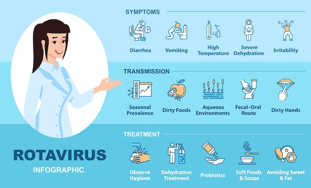 Rotavirus infection vector infographic template. stomach flu transmission, symptoms and treatment flat character with linear icons. cartoon advertising flyer, leaflet, ppt info poster idea