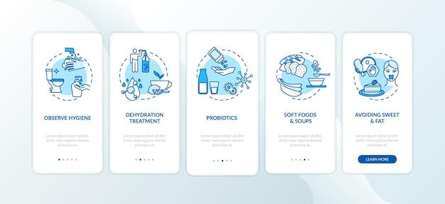 Лечение ротавируса на экране страницы мобильного приложения с концепциями. соблюдайте гигиену, избегая сладкого прохождения 5 шагов графической инструкции. векторный шаблон пользовательского интерфейса с цветными иллюстрациями rgb