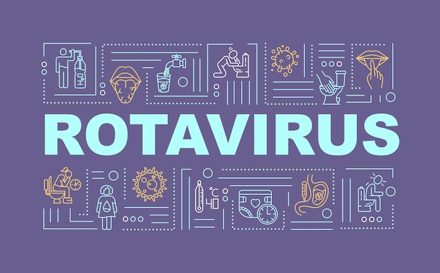Rotavirus 단어 개념 배너입니다. 질병 증상. 건강 관리 문제입니다. 보라색 바탕에 선형 아이콘으로 인포 그래픽입니다. 고립 된 인쇄 술입니다. 벡터 개요 rgb 컬러 일러스트
