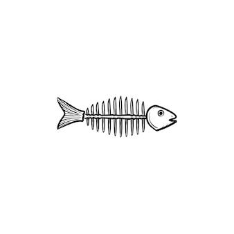 뼈 손으로 그린 개요 낙서 아이콘 썩은 물고기 골격. 흰색 배경에 격리된 인쇄, 웹, 모바일 및 인포그래픽을 위한 썩은 죽은 물고기 벡터 스케치 그림의 뼈대.