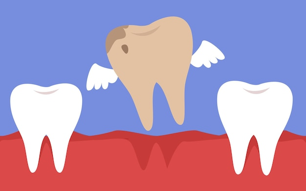A rotten tooth with wings flies out of the mouth dentistry and caries treatment