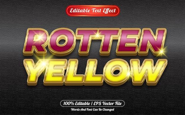 Rotten yellow editable text effect golden themed