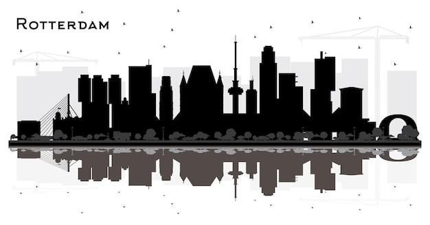 반사와 흰색 절연 검은 건물 로테르담 네덜란드 도시 스카이 라인 실루엣. 삽화