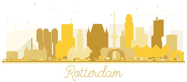 로테르담 네덜란드 스카이 라인 황금 실루엣입니다. 벡터 일러스트 레이 션. 비즈니스 여행 개념입니다. 랜드마크가 있는 로테르담 도시 풍경.