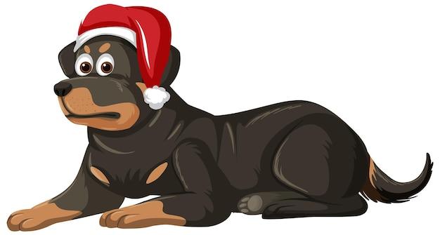 Rottweiler dog wearing christmas hat cartoon character