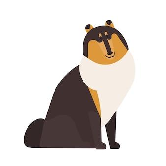 러프 콜리. 흰색 배경에 격리된 장발 코트를 입은 사랑스러운 목축 또는 목가적인 개. 귀여운 재미 순종 국내 동물 또는 애완 동물. 평면 만화 스타일의 다채로운 벡터 일러스트 레이 션.