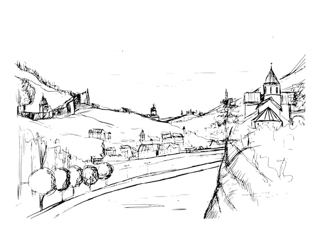 Грубый проект улицы небольшого грузинского городка, зданий и деревьев на фоне гор на фоне. пейзаж с поселением, расположенным возле холмов, рисованной в монохромных тонах. эскиз иллюстрации