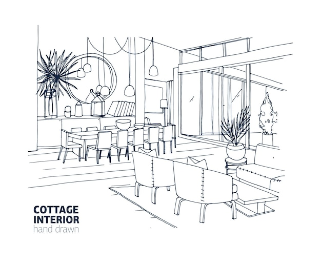 Rough monochrome drawing of house or summer cottage interior with stylish furniture and home decorations