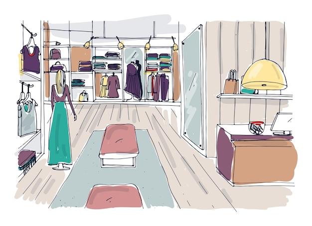 ハンガー、棚、家具、流行の服を着たマネキンを備えた衣料品ショールームのインテリアのラフスケッチ。手描きのファッションブティックやアパレルショップ。色付きのベクトルイラスト。