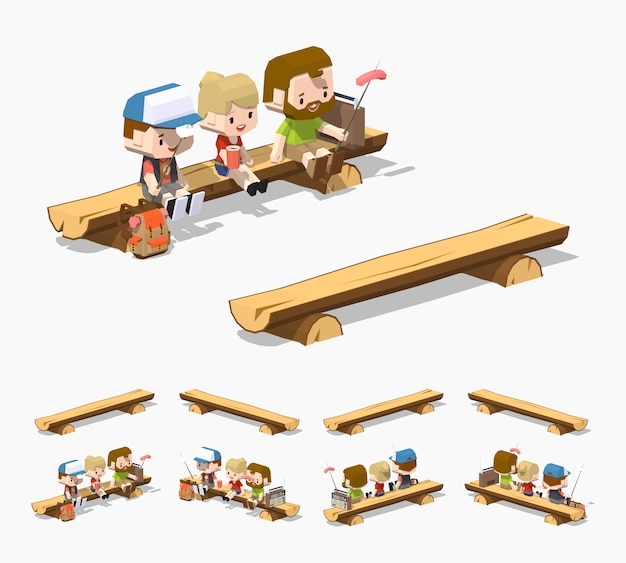 Rough wooden 3d isometric bench