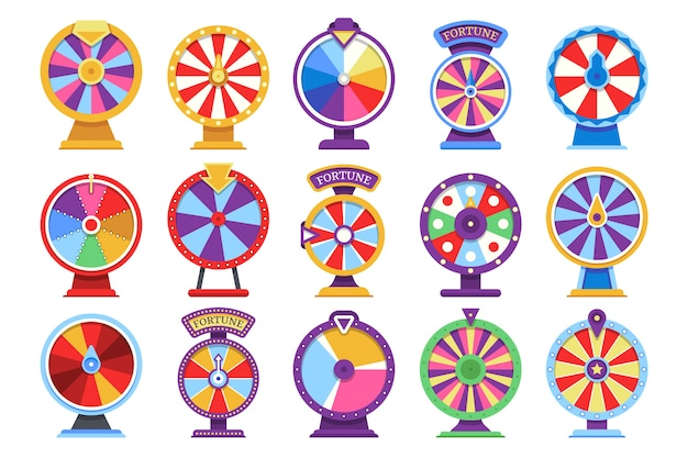 Roulette fortune spinning wheels flat icons casino money games - bankrupt or lucky vector elements