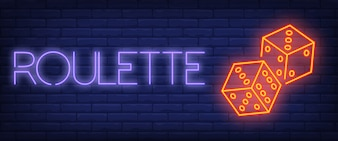 Roulette neon text with dice