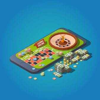 Roulette table, chips, bundles of banknotes and coins at smartphone. online casino concept
