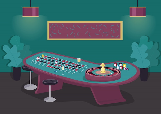 Roulette table  color  illustration. spin wheel to win bet. put stake on black and red. gambling entertainment. casino room  cartoon interior with luxury decoration on background