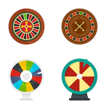 Roulette wheel fortune icons set