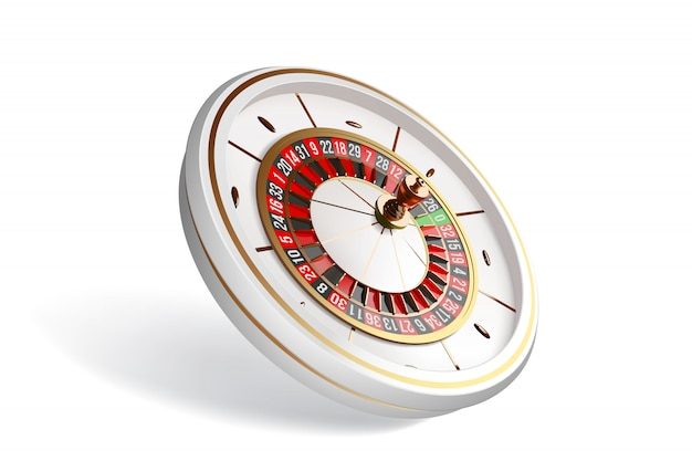 Roulette wheel isolated on white background.