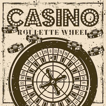 Винтажный плакат или баннер колеса рулетки для казино с гранжевыми текстурами и царапинами