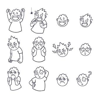 Круглое абстрактное лицо с разными эмоциями