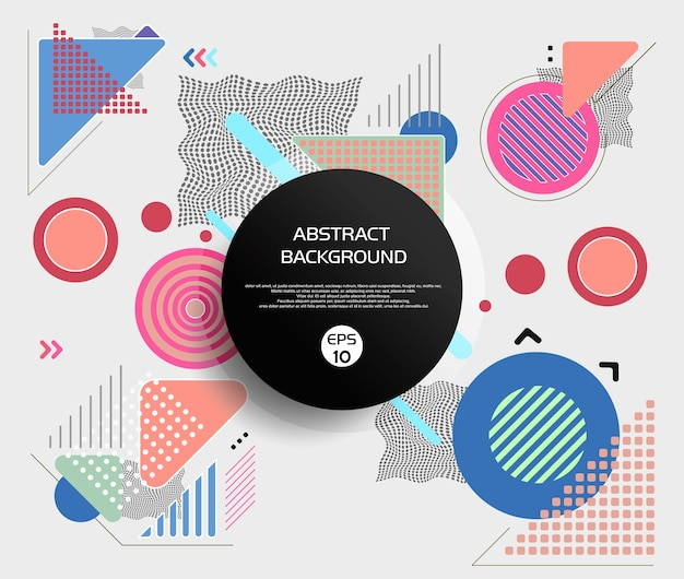 Round abstract of geometric and mesh models with sweet color backgrou