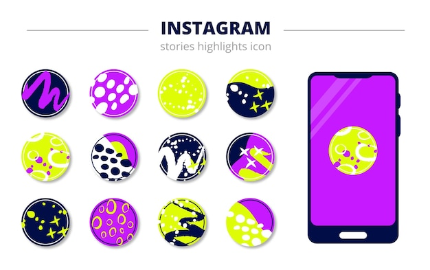 Round abstract illustration for eternal stories in instagram, phone template