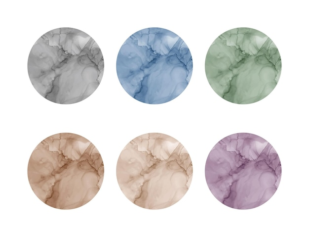 Round alcohol ink watercolor shapes. social media highlights stories