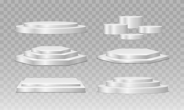 円形と正方形の空のステージと表彰台の階段
