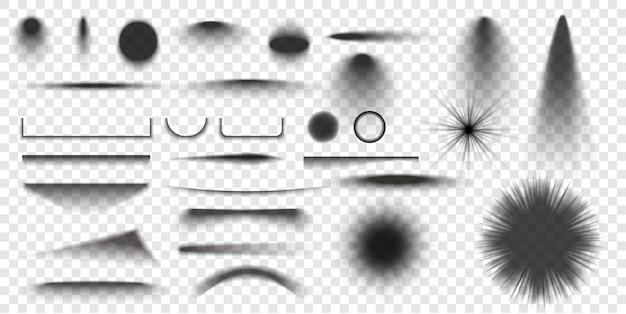원형 및 사각형 격리 된 바닥 투명 그림자 현실적인 격리 된 그림자 템플릿 그림자
