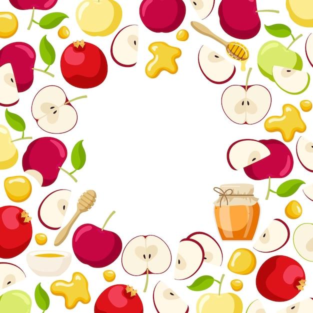 Round apple pomegranate fruit and honey frame jewish new year holiday shana tova wreath