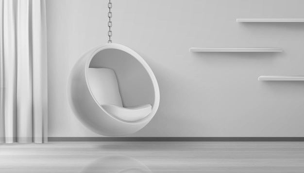 Round armchair hang on chain at home interior