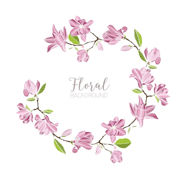 Round background, border or frame made of branches with tender pink blooming magnolia flowers and green leaves. beautiful circular floral decoration or wreath. hand drawn illustration.