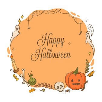 Round background frame for halloween