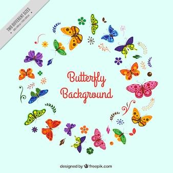 フラットなデザインのカラフルな蝶のラウンド背景