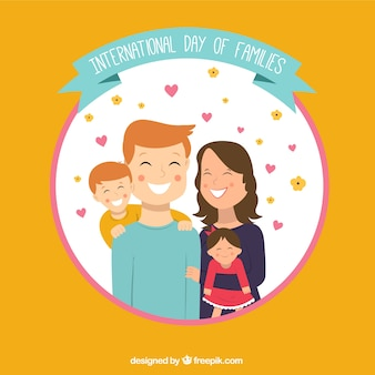 행복 한 가족의 둥근 배경