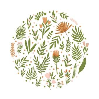 파스텔 색상의 나뭇잎과 꽃의 둥근 배경 소박하고 보헤미안 스타일