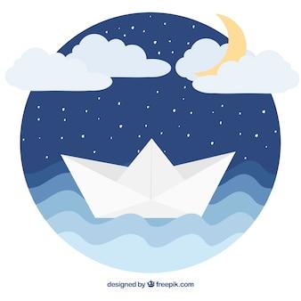 Priorità bassa rotonda della barca di carta in disegno piatto